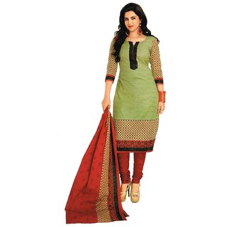 Womens Cotton Dress Material Green Red