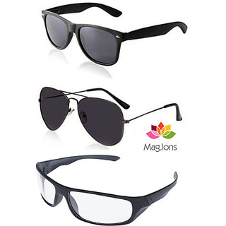 Magjons Aviator Sunglasses Combo  Driving Goggale Set of 3 With box MJ7799
