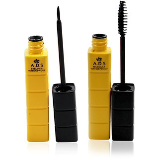 ADS WATERPROFF LENGTH FIBER EXTENSION EYELINER  MASCARA  Free Liner  Rubber Band -PHMO