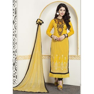 Blissta Yellow Cotton Embroidered Salwar Suit Material
