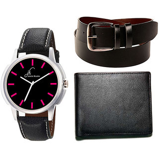 Jack Klein Combo of Formal Analog Watch, Black Belt And Wallet (Synthetic leather/Rexine)
