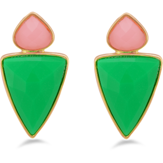 Fnacy Traditional Design Green  Pink Stone Earring