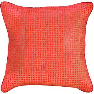 Snowfinch Premium Quality Net Polka Dot Design Orange Cushion Cover 1 Piece