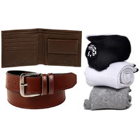 Combo of Brown Color  Belt And Wallet With 3 Pair Cotton Socks