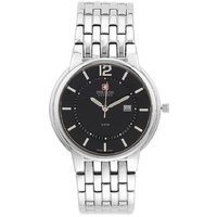 Swiss Military Unisex Black Beauti Stainless Steel Swiss Movement Date Watch