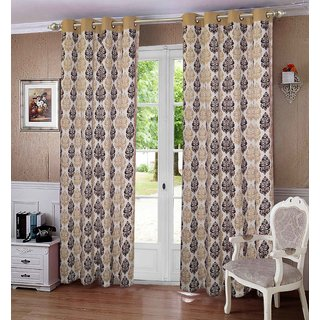 Lushomes Earth Printed Cotton Curtains for Door (Single Pc)