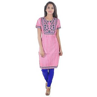 Beautiful Cotton Printed Pink Color straight Kurti from the House of Aprique Fab