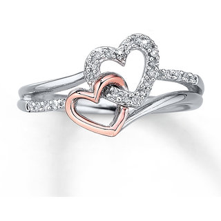 RM Jewellers CZ 92.5 Sterling Silver American Diamond Double Heart Ring For Women