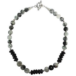 Pearlz Ocean Black Agate and Black Rutilaited 18