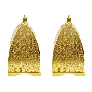 Anasa Moroccan Decorative Metal Pyramid  Shape Lantern Candle Holder for Desk Golden 17 Inch
