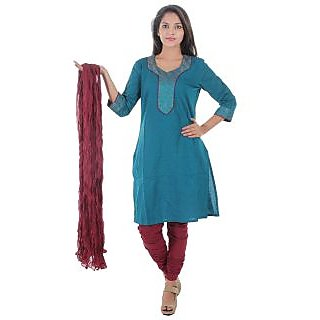 Beautiful Cotton Solid Blue Color straight Kurti with duptta from the House of Aprique Fab
