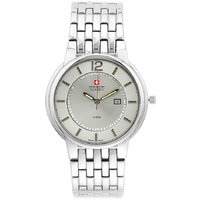 Swiss Military Unisex Silver Ice Stainless Steel Swiss Movement Date Watch