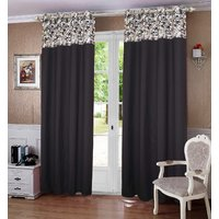 Lushomes Coins Printed Bloomberry Cotton Curtains for Door (Single Pc)