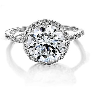 RM Jewellers CZ 92.5 Sterling Silver American Diamond Best Loving Ring For Women