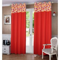 Lushomes Basic Printed Bloomberry Cotton Curtains for Door (Single Pc)