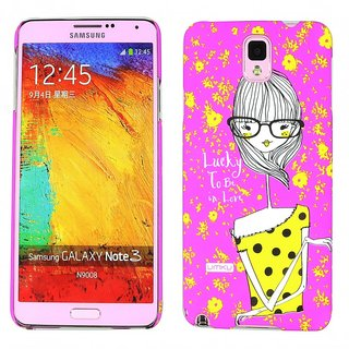 Heartly Cute Girl Printed Design High Quality Hybrid Tough Armor Hard Bumper Back Case Cover For Samsung Galaxy Note 3 N