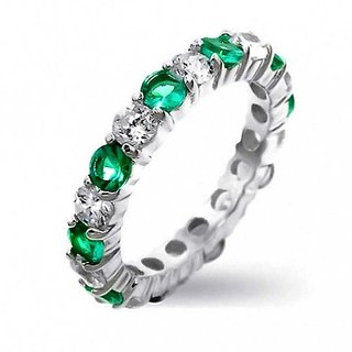 RM Jewellers CZ 92.5 Sterling Silver American Diamond Fabulous Princess Ring For Women