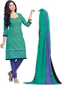 Drapes Green Cotton Block Print Salwar Suit Dress Material (Unstitched)