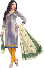 Drapes Multicolor Cotton Block Print Salwar Suit Dress Material (Unstitched)