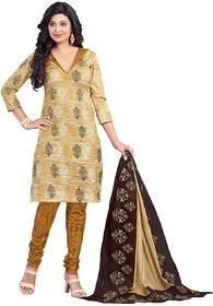 Drapes Beige Cotton Block Print Salwar Suit Dress Material (Unstitched)