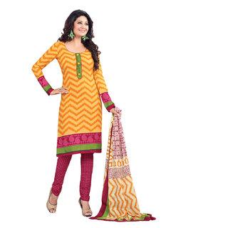 Drapes Orange Cotton Block Print Salwar Suit Dress Material (Unstitched)