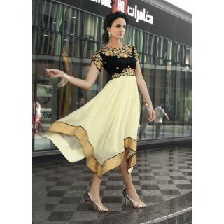 Beige  Black Color With Butta Work Incredible Readymade Kurti