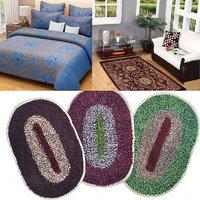 combo of 1 cotton bedsheet with 1 carpet  3 door mats(ccd-011)