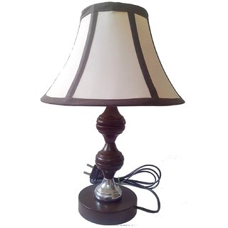 Brown Silver Stand Table Lamp with 9 Round Cream with Black Border Slanting Lamp Shade