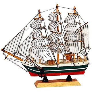 Decorative Sailing Ship Showpiece 16 cm (Wood, Paper, Multicolor)