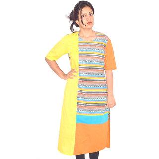 Yellow Printed Assymetric Colour Block Kurta