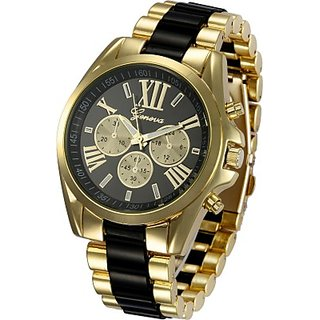 COSMIC GENEVA STAINLESS STEEL BRACELET WATCH FOR MEN- BLACK AND GOLD CHAIN
