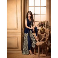 Thankar Navy Blue And Beige Embroidered Georgette Straight Suit