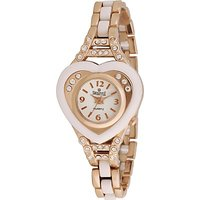 Swis Style Lr003A White Dial Metal Chain Analog Watch For Women