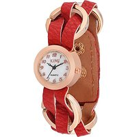 Swis Style Lr1500 White Dial Leather Strap Analog Watch For Women