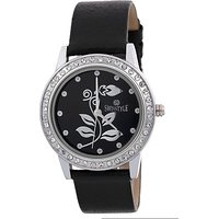 Swis Style Lr450 Black Dial Leather Strap Analog Watch For Women