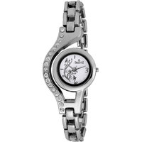 Swis Style Lr100 White Dial Metal Chain Analog Watch For Women