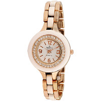 Swis Style Lr601 White Dial Metal Chain Analog Watch For Women