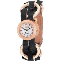 Swis Style Lr1500 Black Dial Leather Strap Analog Watch For Women