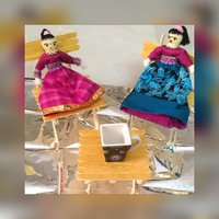 Two Handmade wool toys with chairs and a table Lovely dolls gift for kids and a good home decorative items