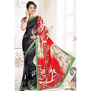 Black red pure georgette fornal saree