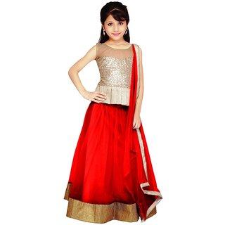 Anchal Fashion Red Net Lehengas