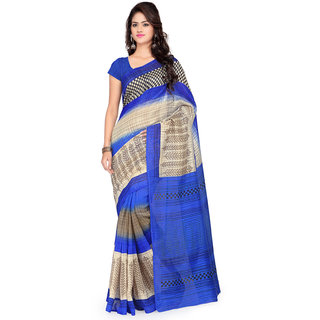 Sareemall Beige and Blue Banarasi Art Silk Printed Casual Saree With Unstitched Blouse 3CLB6054