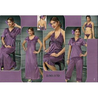 dc278b4a2a Womens Nightwear 7pc Bra Panty Top Capri Babydoll Nighty Overcoat 117D Ash  Wine Bedroom Dress Daily