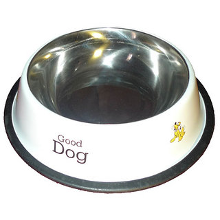 Dog Food Bowl White Printed Anti Skid - 500Ml