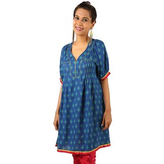 Indricka Blue Color Tunic For Women