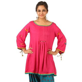 Indricka Pink Color Tunic For Women