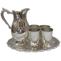 BRASS SILVER PLATED DECORATIVE 4 GLASSES WITH TRAY AND JUG,KITCHENWARE,TABLEWARE