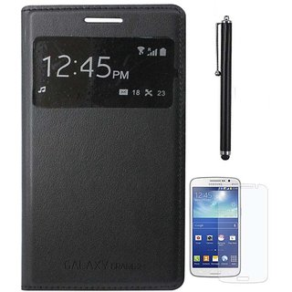 Black S View  Flip Cover for Galaxy Grand 2 G7102 with Screen Guard and Stylus