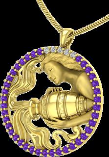 Aquarius Zodiac Pendant