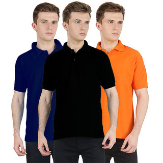 FUEGO Fashion Wear Combo Of Polo T-shirt For Men- Pack Of 3 FG-3CM-POLO-BLK-DB-ORG